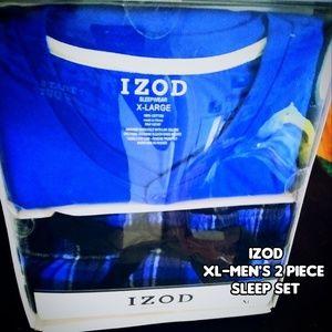 IZOD BLUE AND BLACK XL MENS 2 PIECE SLEEP SET